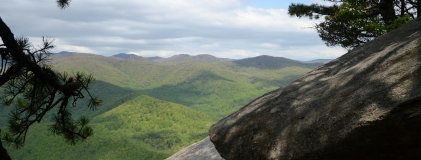 Walking out onto the summit of Looking Glass Rock.